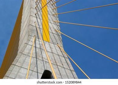Detail of bridge construction over blue sky , the Rama 8 bridge, Bangkok, Thailand