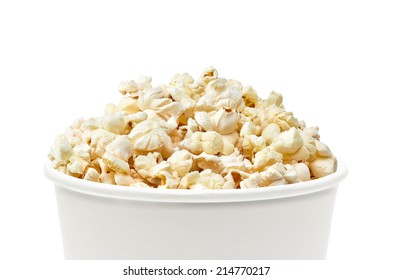 Detail of bucket of popcorn on white background