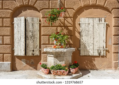 Detail of the building decoration in the old town of Vrsar, Istria, Croatia