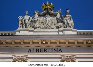 Detail of Building facade of Albertina Museum, Vienna Austria.