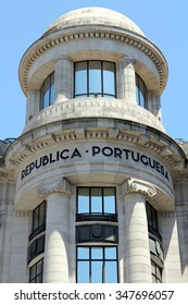 Detail of a building in Porto, Portugal Building at praca da liberdade in the city of Porto in Portugal