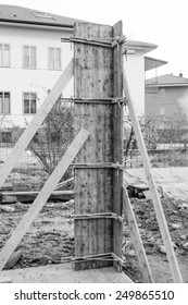 Detail of a building site for construction works in black and white