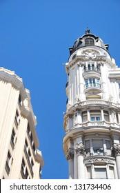 Detail of buildings along Gran Via street in Madrid, Spain