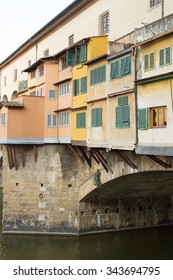 Detail of the buildings on the Ponte Vecchio Bridge, Florence , Italy