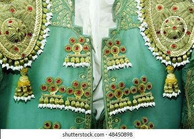 detail of a bullfighter dress, the costum of a torero