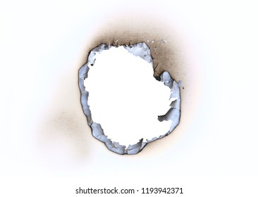 Detail of the burnt throughhole in a blank paper