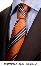 detail of a Business man Suit with red tie