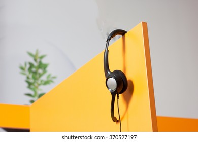 Detail of call center workplace