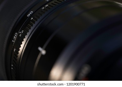 Detail of a camera lens for photography or video