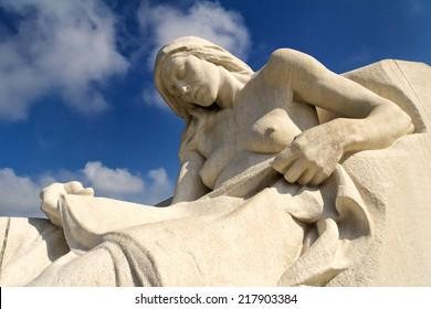 A detail of the Canadian National Vimy Memorial near Vimy, Pas-de-Calais, France. Designed by Walter Seymour Allward of Toronto, Ontario, Canada.