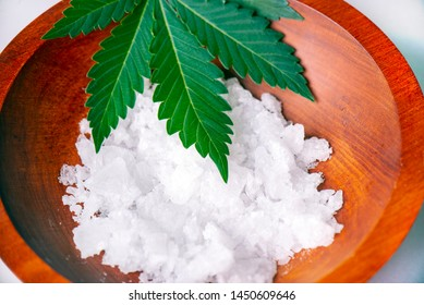 Detail of Cannabidiol crystal aka CBD, a pure isolated medical cannabis compound used for its medicinal properties