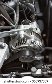 detail of a car engine, cut metal engine