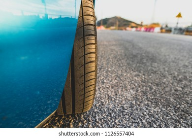 Detail of car tyre with mid usage.