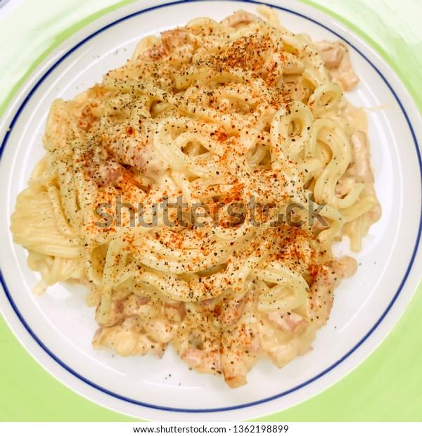 Detail of carbonara spaghetti dish