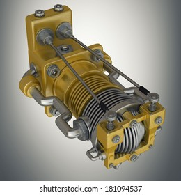 detail the carburetor from Radial cylinder engine. High resolution 3d render