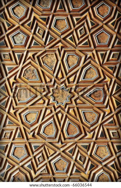 Detail carved wood ornamental oriental artistic stock photo edit