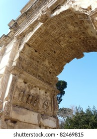 Detail of carvings celebrating Titus' victories in Judea on the Arch of Titus at the Roman Forum in Rome, Italy