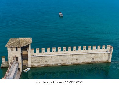 Detail of Castello Scaligero Di Sirmione (Sirmione Castle), from 14th  Century at Lake Garda, Sirmione, Italy