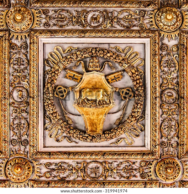 Detail of the ceiling in church of Santa Maria Maggiore, Rome