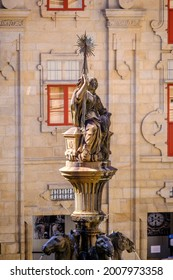 Detail of the central fountain of the Platerias square in the old town in Santiago de Compostela (Spain)