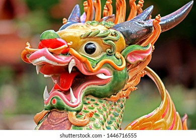 Detail of ceramic Chinese style dragon statue