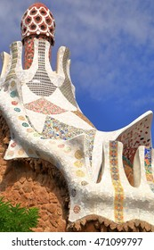 Detail of ceramic tiles decorating the rooftop of a building in Park Guell, Barcelona, Catalonia, Spain