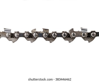detail of chain for a chain saw isolated on the white background, studio shot