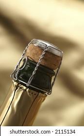 Detail of champagne bottle
