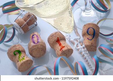 Detail of champagne with corks,Year 2019