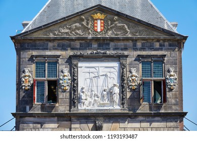 Detail of the Cheese Weigh-house building on the Market square, built in the year of 1668, in the city of Gouda, province 'Zuid-Holland', the Netherlands.