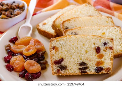 Detail of christmas cake with dried Fruit