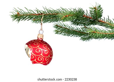 Detail of christmas tree with a broken red glass ball