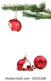 Detail of Christmas tree with a broken red glass ball (can be use for a background or frame)