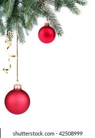 Detail of Christmas tree, in the corner on white background