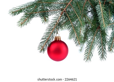 Detail of Christmas tree with a red Christmas ball