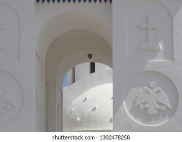 detail of a church in Santorini Greece