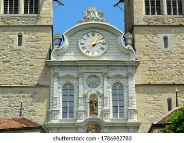 Detail of Church of St Leodegar in Lucerne