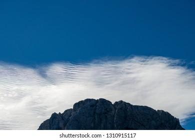 Detail of the Cima del Lago (peak of the lake) near of the Lake of the Predil, Italy Slovenia border, Tarvisio, Udine, Friuli Venezia Giulia