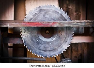 Detail of circular saw. Danger concept.