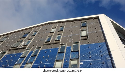 Detail of cladding panels on modern building