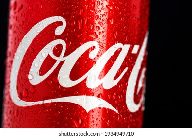 Detail of classic Coca-Cola can on black background. Studio shot in Bucharest, Romania, 2021
