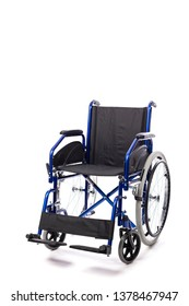 Detail of a classic wheelchair for physical disability on a white background. Concept of hospital care and disability.