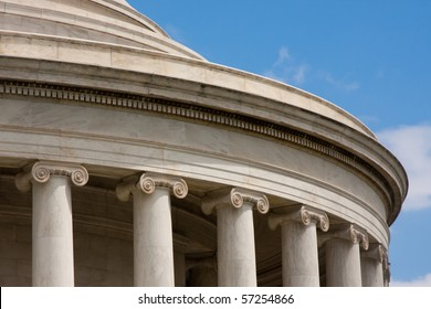 Detail of Classical Architecture of Jefferson Memorial in Washington D.C.