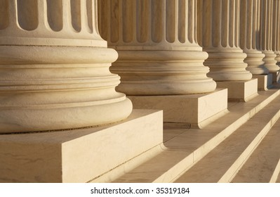 Detail of classical columns at the Supreme Court, Washington, DC.