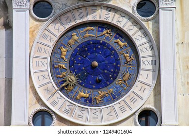 Detail of the Clock Tower on Piazza di San Marco in Venice, Italy. The clock was designed by Zuan Paolo Rainieri and his son in 1493-99.