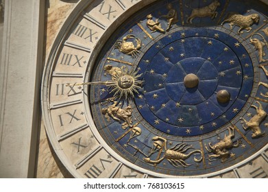 Detail of the clock tower of the clock tower in Piazza San Marco in Venice. Torre dell'orologio a Venzia.