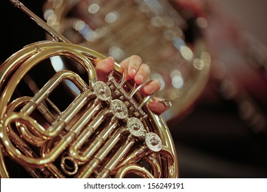 Detail close up of French Horn musical instrument, part of the Brass family of instruments