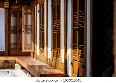 Detail and close up traditional Korean style architecture at Bukchon Hanok Village in Seoul, South Korea.