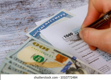 Detail closeup of current tax forms for IRS filing