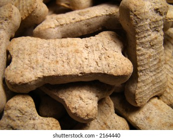 Detail close-up of dog cookies piled high.